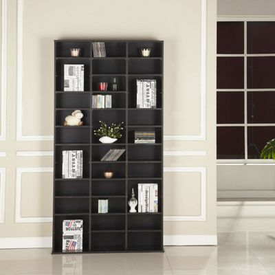 Homcom CD DVD Media Storage Wooden Shelves Bookcase Display Shelving Unit Adjustable