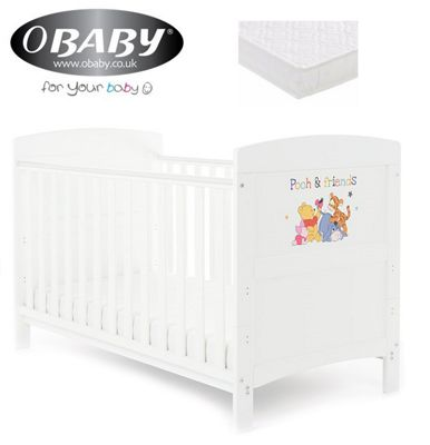 Obaby Inspire Winnie the Pooh Cotbed + Foam Mattress - Pooh and Friends