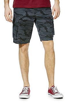 F&F Camo Print Cargo Shorts with Belt - Grey