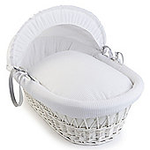 Clair de Lune White Wicker Moses Basket (Soft Cotton Waffle White)