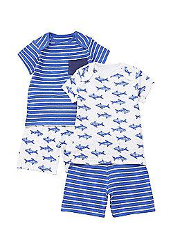 F&F 2 Pack of Shark Print Pyjamas - Blue & White