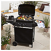 Tesco 2 Burner Gas BBQ with Side Burner, Black