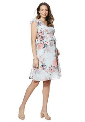 Mamalicious Floral Print Maternity Dress Light Blue S