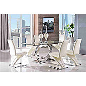 Channel Glass and Polished Stainless Steel 160 cm Dining Table with 6 Ivory Zed Chairs