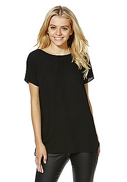 F&F Lattice Back Formal T-Shirt - Black
