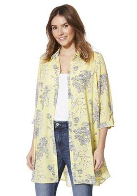 F&F Floral Stencil Print Shirt Dress Lemon Yellow 22