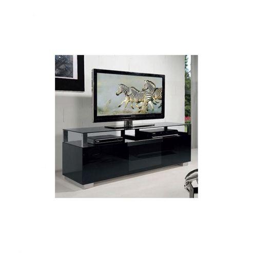 Triskom Wooden TV Stand for LCD / Plasmas with Four Shelves - Black Glass