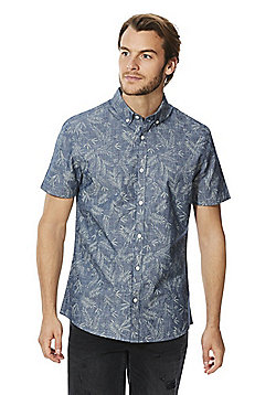 F&F Palm Print Short Sleeve Chambray Shirt - Blue