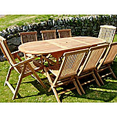 Teak Oval Extending Table Folding chair and recliner set