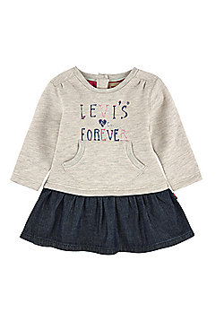Levis Girls - Beige Fleece & Denim Dress - 3 Mths,6 Mths,9 Mths,12 Mths,18 Mths - Beige