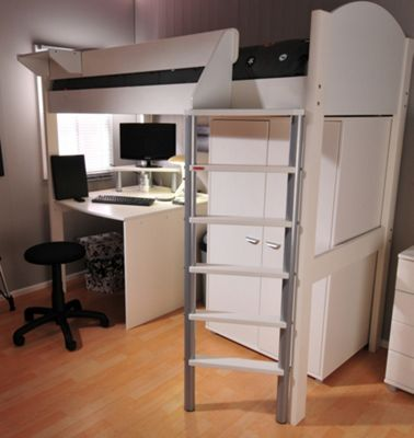 Stompa Casa High Sleeper with Desk and Wardrobe - Blue - White