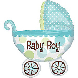 Baby Buggy Boy Supershape Balloon - 31 inch Foil