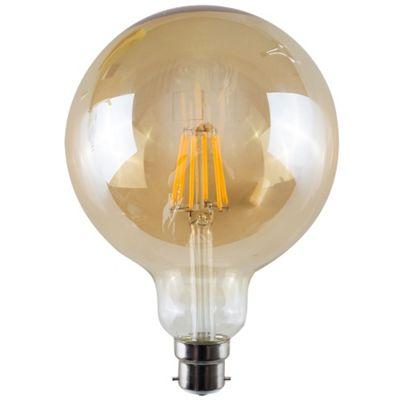 Vintage 6W LED Filament Amber Giant Globe Lightbulb BC B22 - Warm White