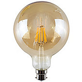 Vintage 6W LED Filament Amber Giant Globe Lightbulb BC B22 - Warm White