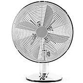 """Andrew James 12"""" Oscillating Desk Fan in Chrome"""
