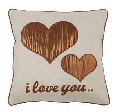 Bronze I love you Small Cushion Taupe Linen Bed Couch Decor