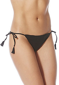 F&F Crochet Side Tie Bikini Briefs - Black