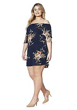 Izabel Curve Rose Print Plus Size Bardot Dress - Navy & Multi