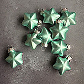 Matte Aqua Blue Glass Star Baubles - Set of Nine