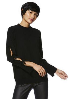 F&F Cut-Out Bow Sleeve Jumper Black 10