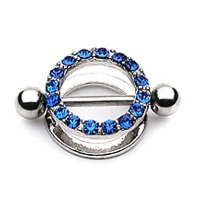 Urban Male 1.6mm Stainless Steel Nipple Shield With Coloured CZ Stones in Blue