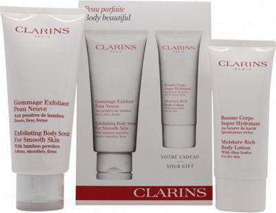 Clarins Body Beautiful Gift Set 200ml Exfoliating Scrub + 100ml Moisture Rich Body Lotion