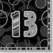 13th Birthday Black Luncheon Napkins - 2ply Paper - 16 Pack