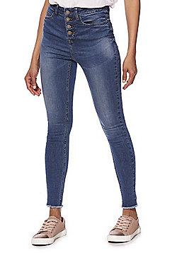 Noisy May Raw Hem Jeans - blue