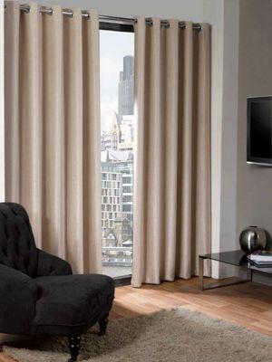 Logan Eyelet Thermal Blackout Curtains, Natural 229x229cm