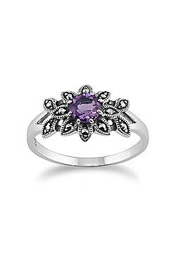 Gemondo 925 Sterling Silver Floral Art Deco Amethyst & Marcasite Ring