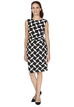 Roman Originals Textured Geo Print Pencil Dress - Black & White
