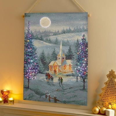 Premier Decorations - 90cm x 65cm Christmas Tapestry with Fibre Optic Lights - Going to Church