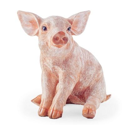 Bailey the Realistic Resin Sitting Pig Garden Ornament