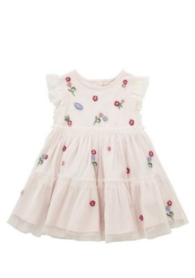 F&F Flower Embroidered Tiered Tulle Dress Blush Pink 9-12 months