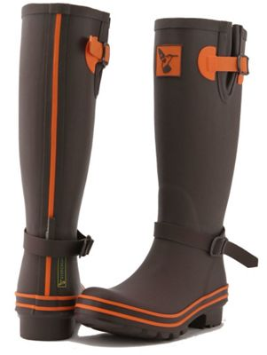 Evercreatures Ladies Wellies Brown With Terracotta Edging 5