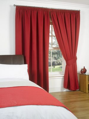 Dreamscene Pair Thermal Blackout Pencil Pleat Curtains, Red - 90