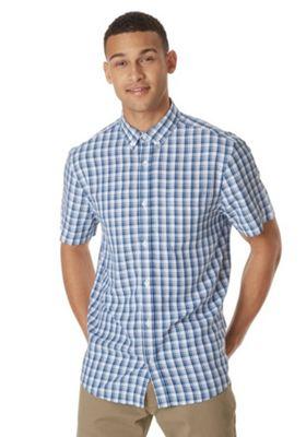 F&F Soft Touch Button-Down Collar Checked Shirt Blue/White 4XL