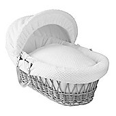 Clair de Lune Grey Wicker Moses Basket (Honeycomb White)