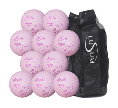 Lusum Optio 10 ball Netball Pack with Bag, Size 4