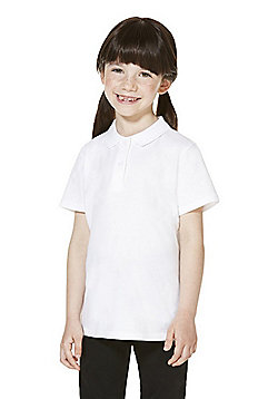 F&F School 5 Pack of Girls Polo Shirts with As New Technology - White