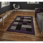 Matrix Check Border Grey & Purple Runner - 60x225cm