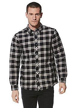 F&F Borg Lined Checked Shirt - Navy