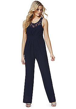 Mela London Lace Panel Jumpsuit - Navy