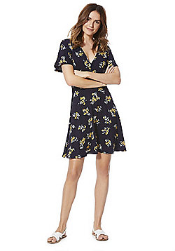 F&F Floral Print Jersey Wrap Dress - Navy