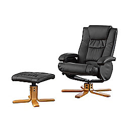 Sofa Collection Feliz Swivel Chair With Massage/Heat Function And Footstool - Black
