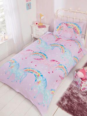 Rainbow Unicorns duvet cover and pillowcase set - junior - pink