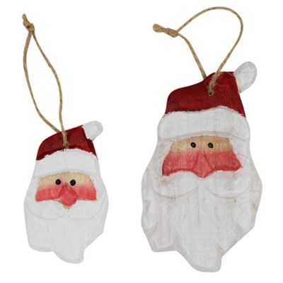 Set of 2 Carved Wood Santa Head Christmas Tree Decorations