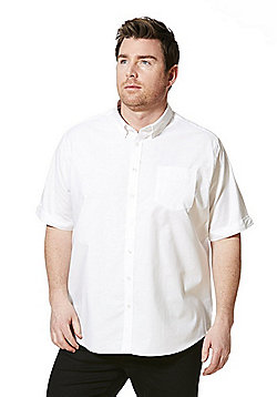 Jacamo Longer Length Short Sleeve Oxford Shirt - White