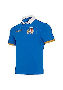 Macron Italy FIR M17 Replica Cotton Home Jersey SS SR - Blue