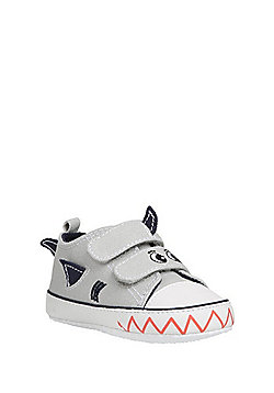 F&F Shark Canvas Trainers - Grey